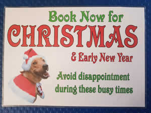 Book now for Christmas and early New Year to avoid disappointment